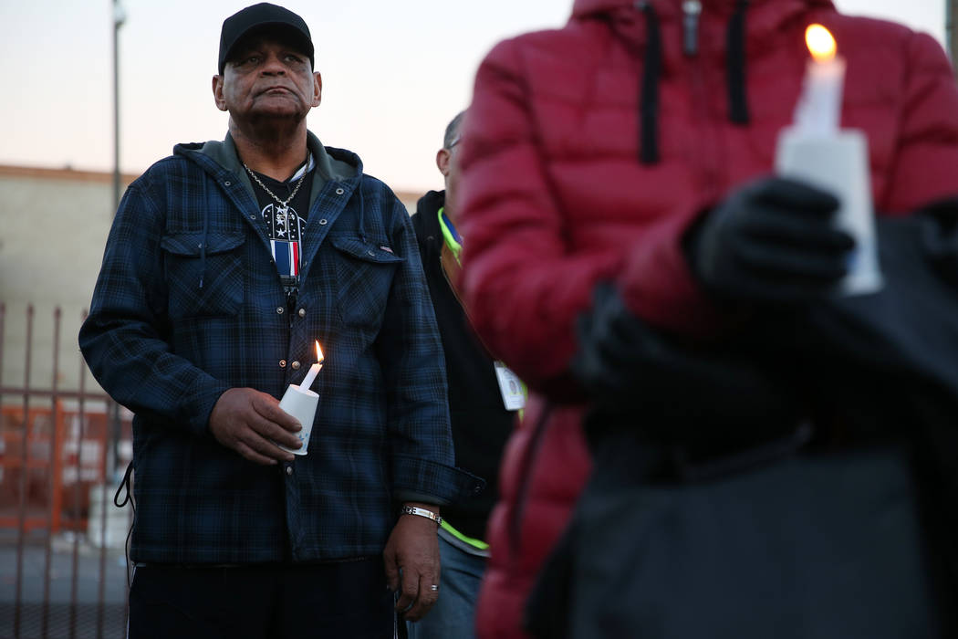 Marvin Hampton, who is homeless, attends the 23rd Annual Homeless Candlelight Vigil at the CARE Complex in Las Vegas, Thursday, Dec. 13, 2018. Hampton says he knows at least four homeless people w ...