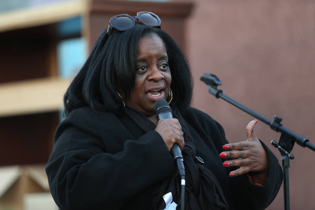 Kathi Thomas-Gibson, director of community services for the city of Las Vegas, speaks during the 23rd Annual Homeless Candlelight Vigil at the CARE Complex in Las Vegas, Thursday, Dec. 13, 2018. E ...