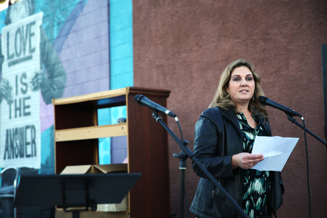 Melissa Clary, board member for the Southern Nevada Homeless Continuum of Care, speaks during the 23rd Annual Homeless Candlelight Vigil at the CARE Complex in Las Vegas, Thursday, Dec. 13, 2018. ...