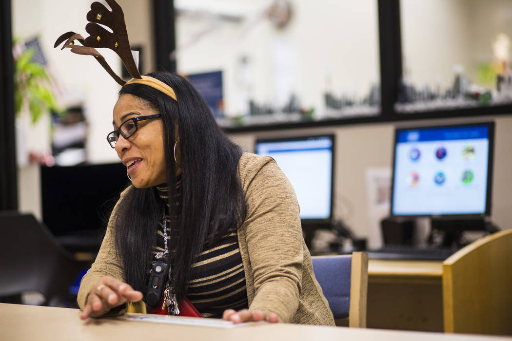 Lisa Gibson, department head of the computer center at West Las Vegas Library, talks about the internet and computer services offered at the library in Las Vegas on Thursday, Dec. 13, 2018. Chase ...