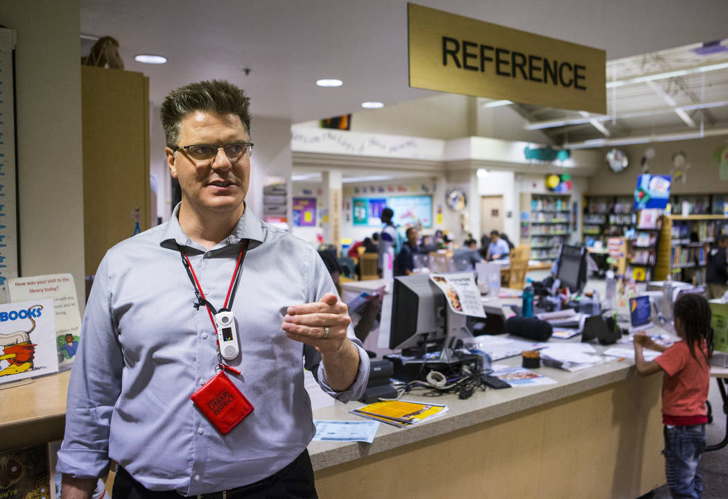 Tom Sommer, branch manager at West Las Vegas Library, talks about the internet and computer services offered at the library in Las Vegas on Thursday, Dec. 13, 2018. Chase Stevens Las Vegas Review- ...
