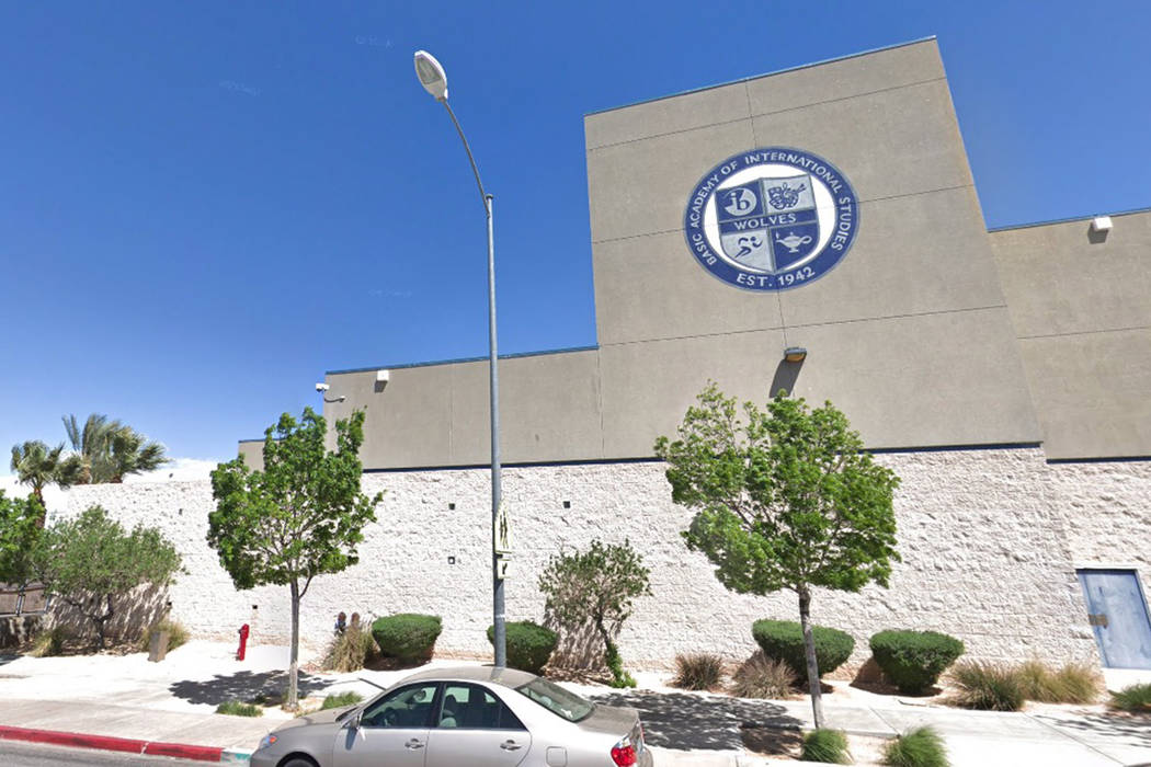 Two Henderson high school students were arrested after Las Vegas police and school officers found them with guns on campus Thursday.(Google Streetview)