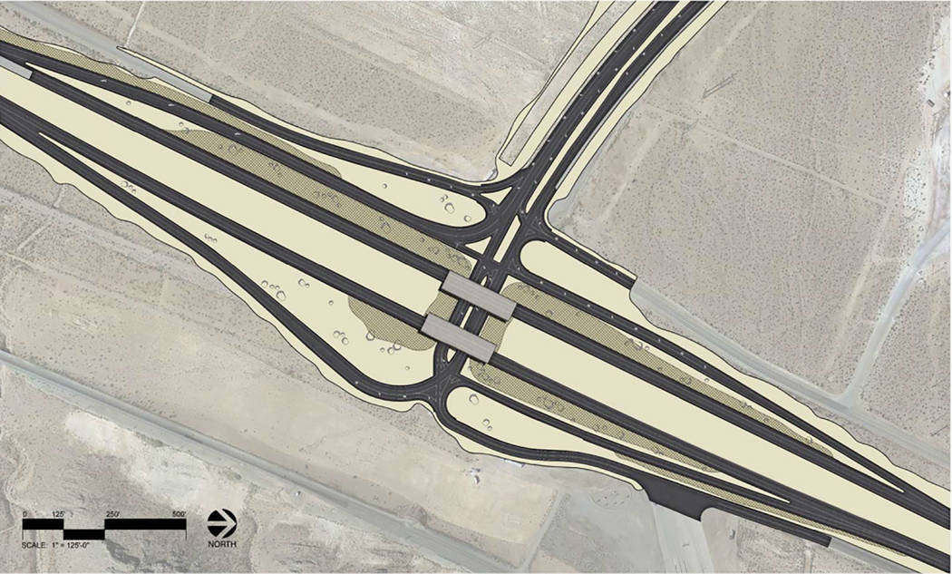 Rendering shows the layout of the newly constructed Garnet Interchange, which opened to traffic Thursday, Dec. 13, 2018.