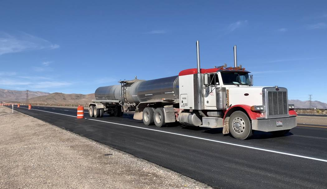 A tractor trailer travels on a portion of U.S. Highway 93 near Apex Industrial Park, where a 5-mile stretch of the highway was widened from two lanes to four. (Mick Akers/Las Vegas Review-Journal)
