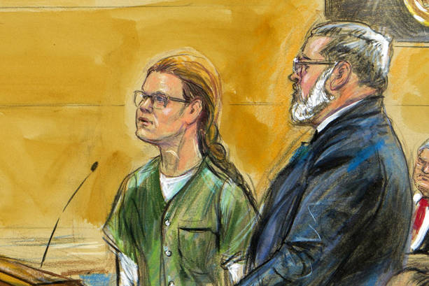 In this courtroom sketch, Maria Butina, left, is shown next to her attorney Robert Driscoll, before U.S. District Judge Tanya Chutkan, during a court hearing at the U.S. District Court in Washingt ...