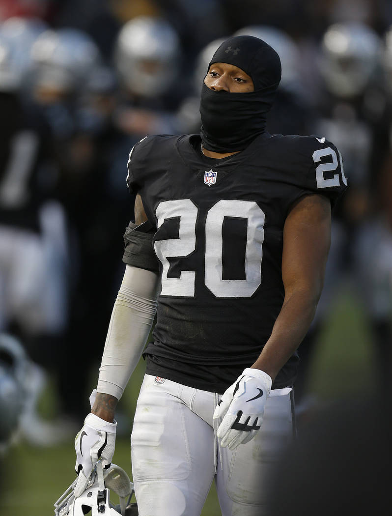 Oakland Raiders cornerback Daryl Worley (20) walks off the field during the second half of an NFL football game against the Kansas City Chiefs in Oakland, Calif., Sunday, Dec. 2, 2018. (AP Photo/D ...