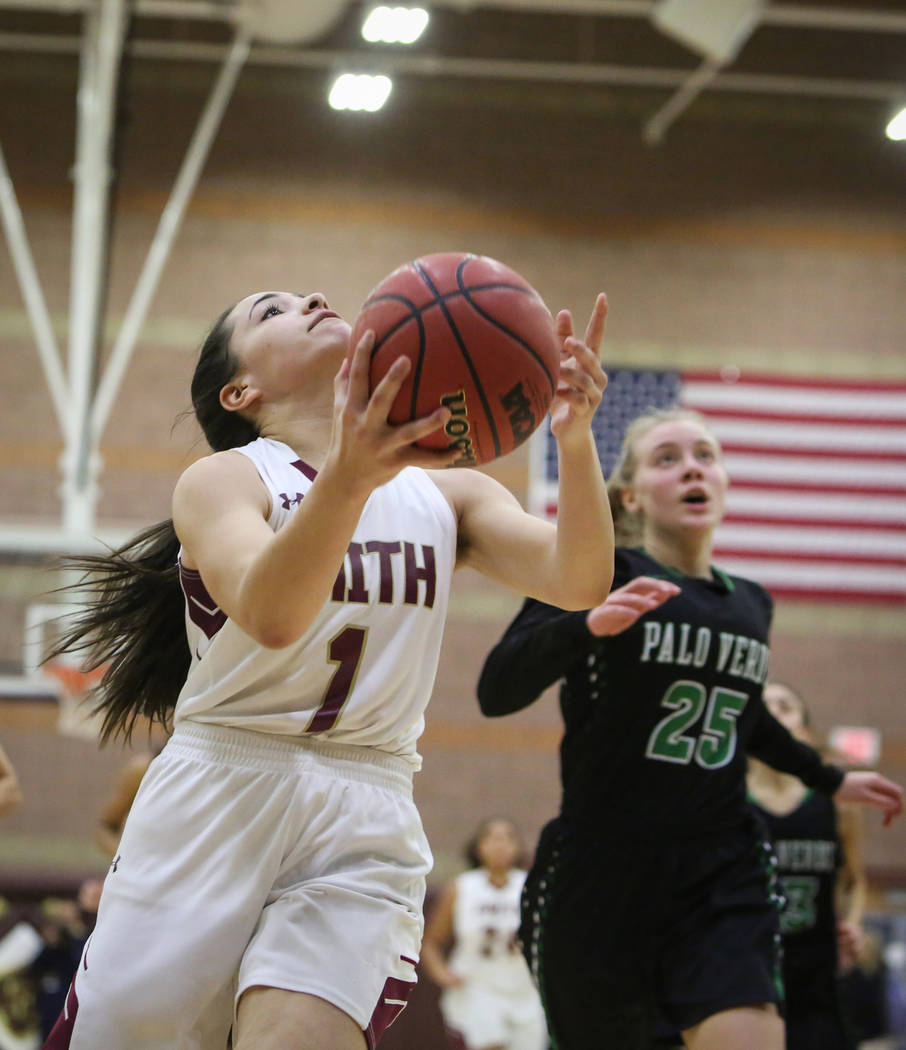 Faith Lutheran's Taylor Etopio (1) looks to shoot the ball during a game against Palo Verde at Faith Lutheran High School in Las Vegas, Thursday, Dec. 13, 2018. Caroline Brehman/Las Vegas Review- ...
