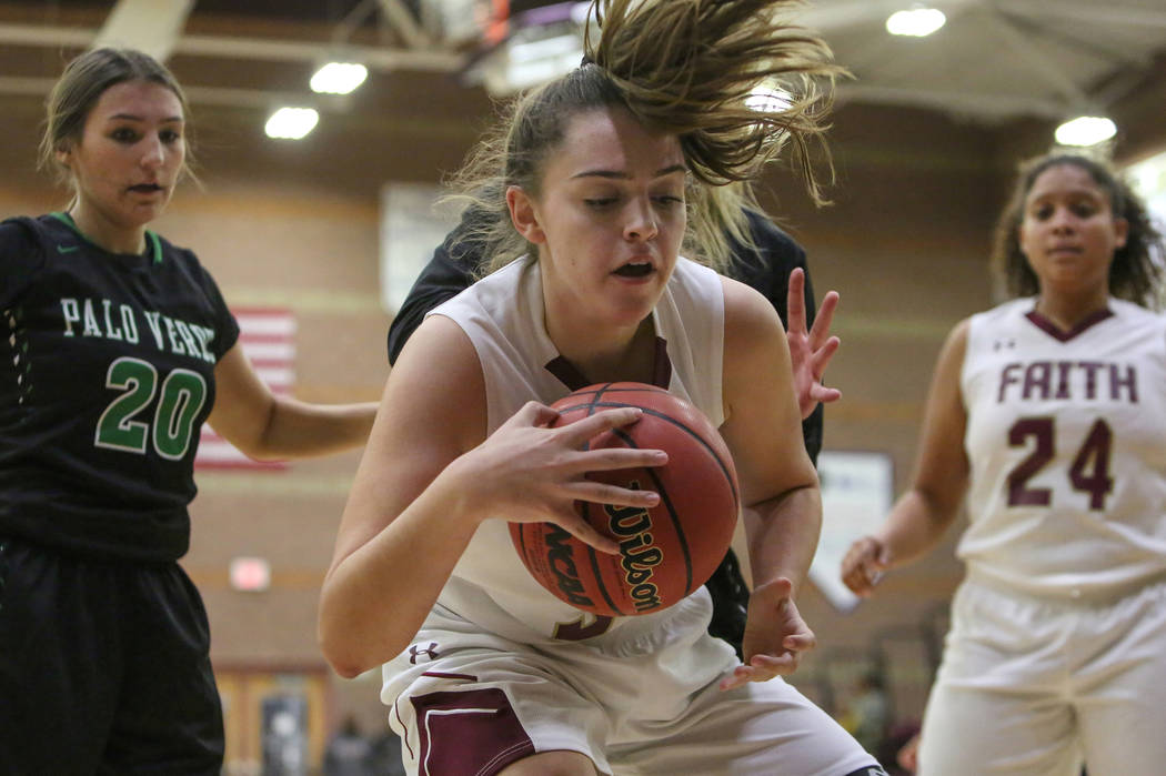 Faith Lutheran's Kelsey Howryla (34) shields the ball during a game against Palo Verde at Faith Lutheran High School in Las Vegas, Thursday, Dec. 13, 2018. Caroline Brehman/Las Vegas Review-Journal