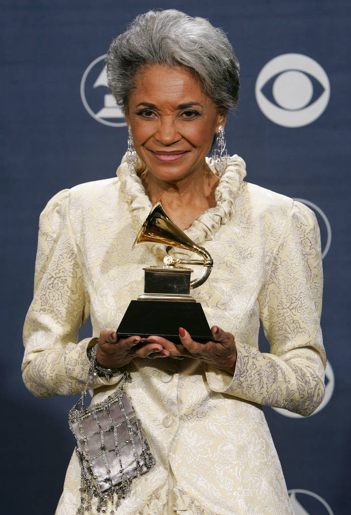 "In this Feb. 13, 2005 file photo, Nancy Wilson poses with her award for best jazz vocal album for ""R.S.V.P. (Rare Songs, Very Personal)"" at the 47th Annual Grammy Awards in Los Angeles. Grammy-win ..."