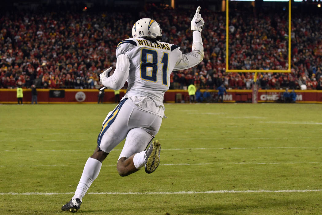 Los Angeles Chargers wide receiver Mike Williams (81) celebrates after catching a two-point conversion for the win against the Kansas City Chiefs during the second half of an NFL football game in ...