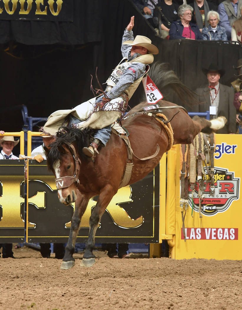 J.R. Vezain competes in the first round of the 2017 Wrangler National Finals Rodeo. Vezain qualified for this year's Wrangler NFR, but broke two vertebrae in his back at the final rodeo of the reg ...