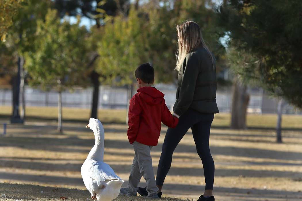 Liam Benyamine, 6, walks with his mother, Dominika, both of Henderson, at Sunset Park on Thursday, Dec. 13, 2018, in Las Vegas. (Bizuayehu Tesfaye/Las Vegas Review-Journal) @bizutesfaye
