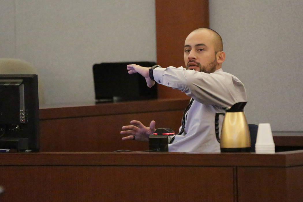 Jose Navarrete, one of two former Nevada Department of Corrections officers accused of using unnecessary force on an inmate, describes the incident to a jury on Friday, December 14, 2018. Michael ...