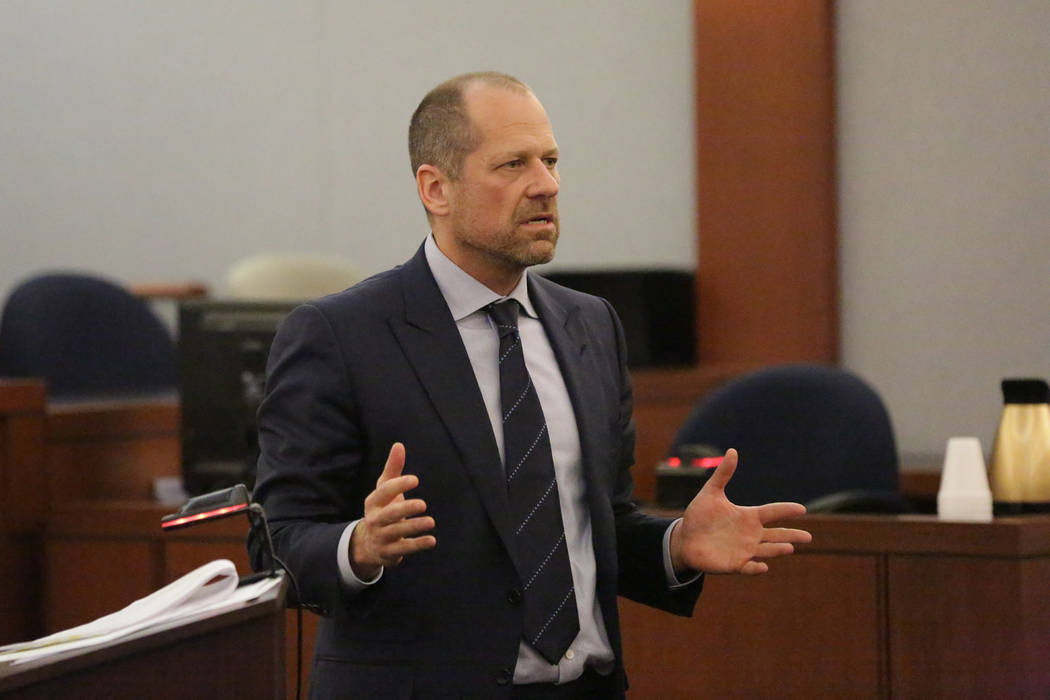 Defense attorney Ross Goodman addresses the jury during closing statements in the trial of Paul Valdez and Jose Navarrete, two former Nevada Department of Corrections officers accused of using unn ...