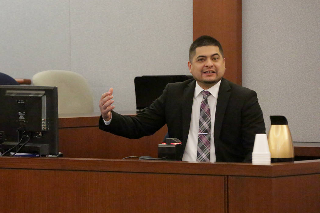 Paul Valdez, one of two former Nevada Department of Corrections officers accused of using unnecessary force on an inmate, details the incident to a jury on Friday, December 14, 2018. Michael Quine ...