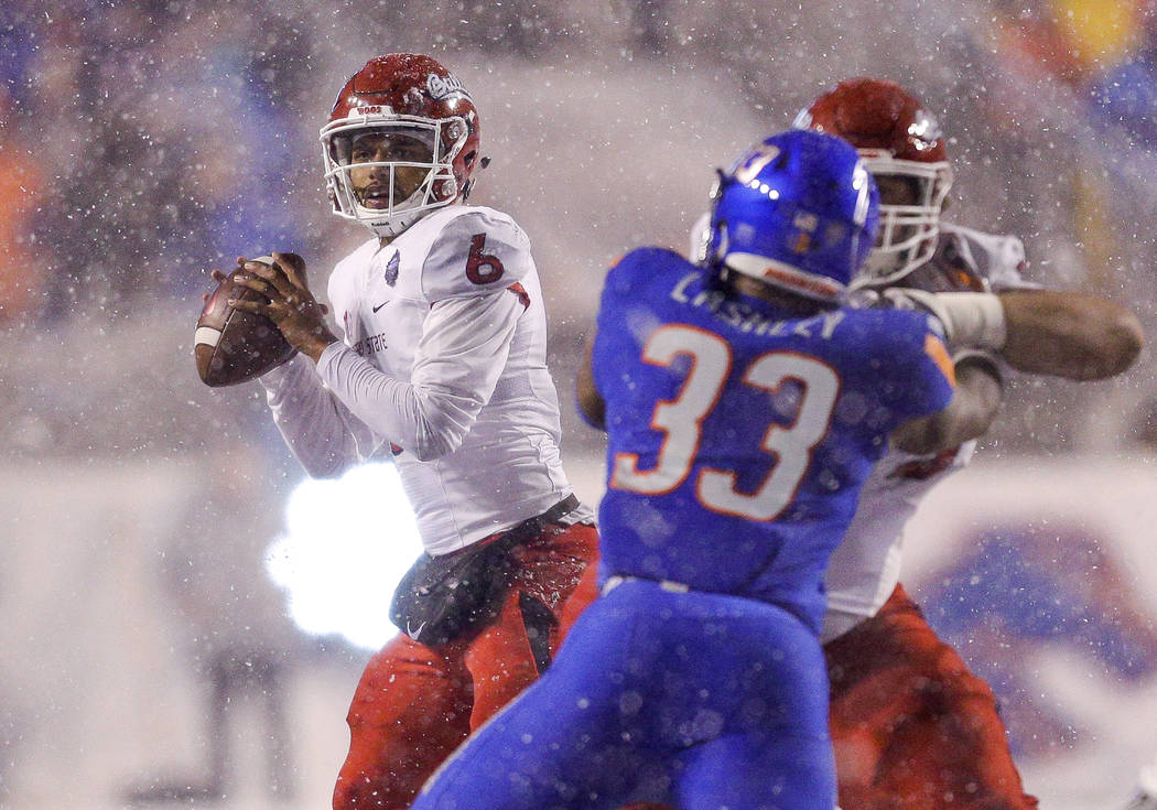 Fresno State quarterback Marcus McMaryion (6) looks for a receiver during the second half of an NCAA college football game against Boise State for the Mountain West championship Saturday, Dec. 1, ...