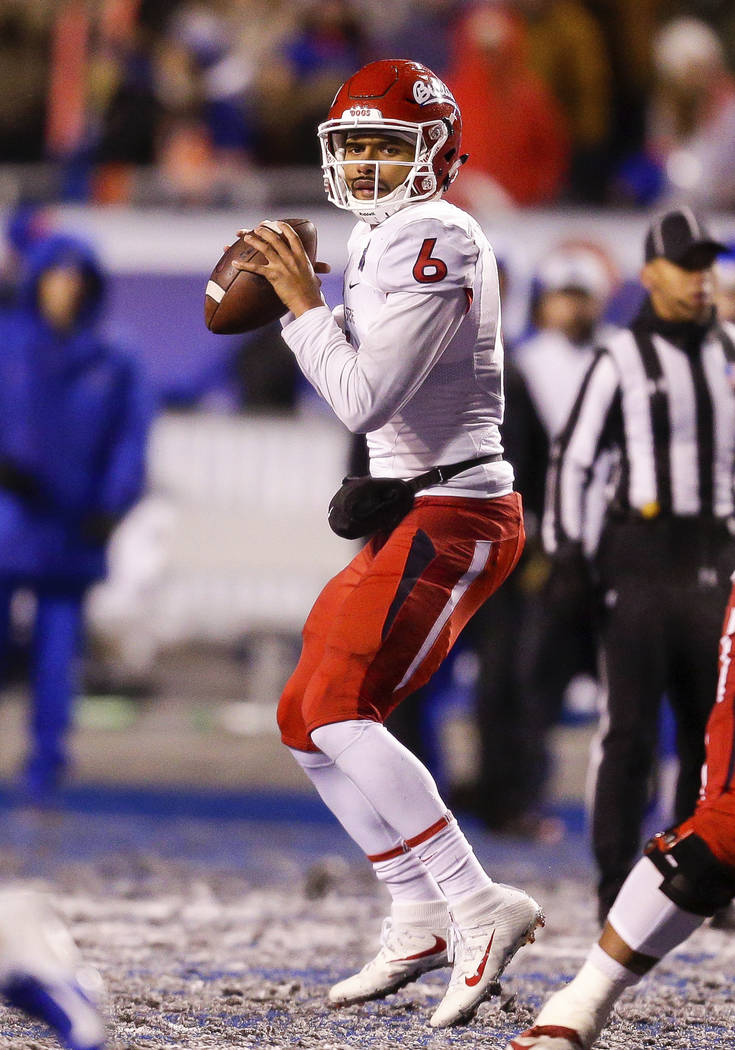Fresno State quarterback Marcus McMaryion (6) looks downfield against Boise State in the overtime of an NCAA college football game for the Mountain West championship, Saturday, Dec. 1, 2018, in Bo ...