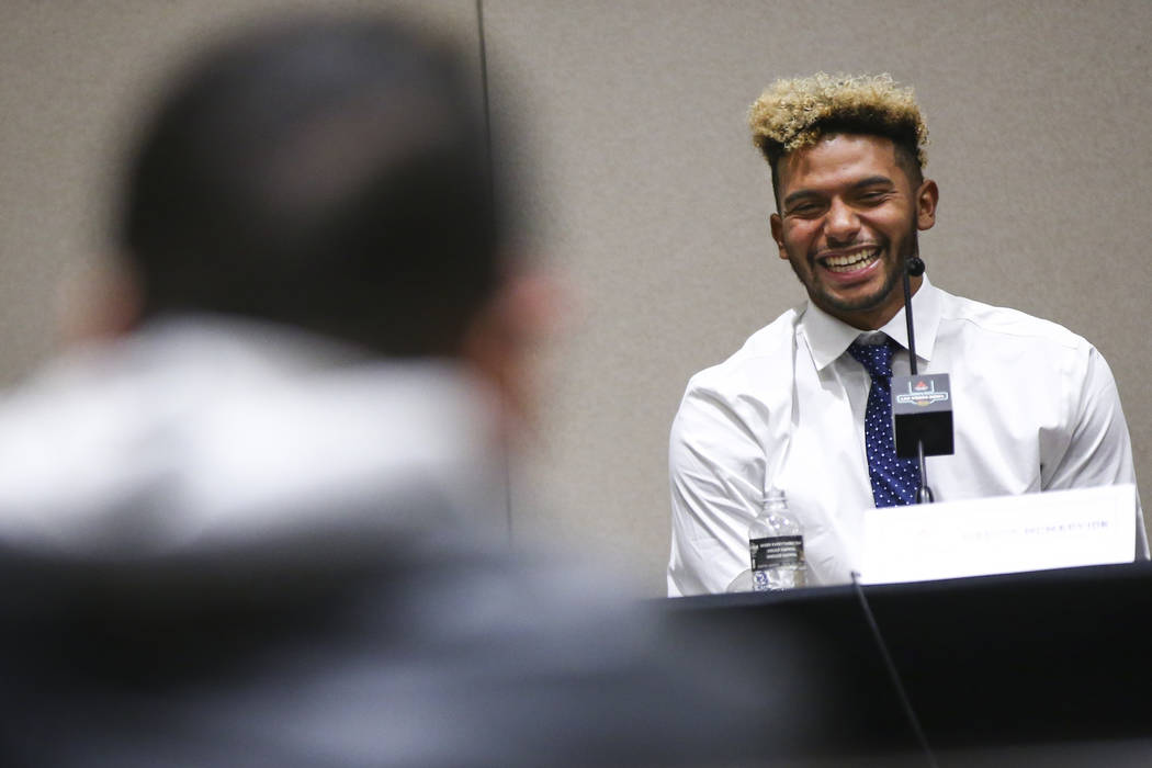 Fresno State quarterback Marcus McMaryion speaks during a press conference ahead of the Las Vegas Bowl at Hard Rock Hotel in Las Vegas on Friday, Dec. 14, 2018. Chase Stevens Las Vegas Review-Jour ...