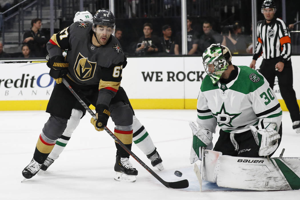Vegas Golden Knights left wing Max Pacioretty (67) tries to tip the puck  past a36d249bc