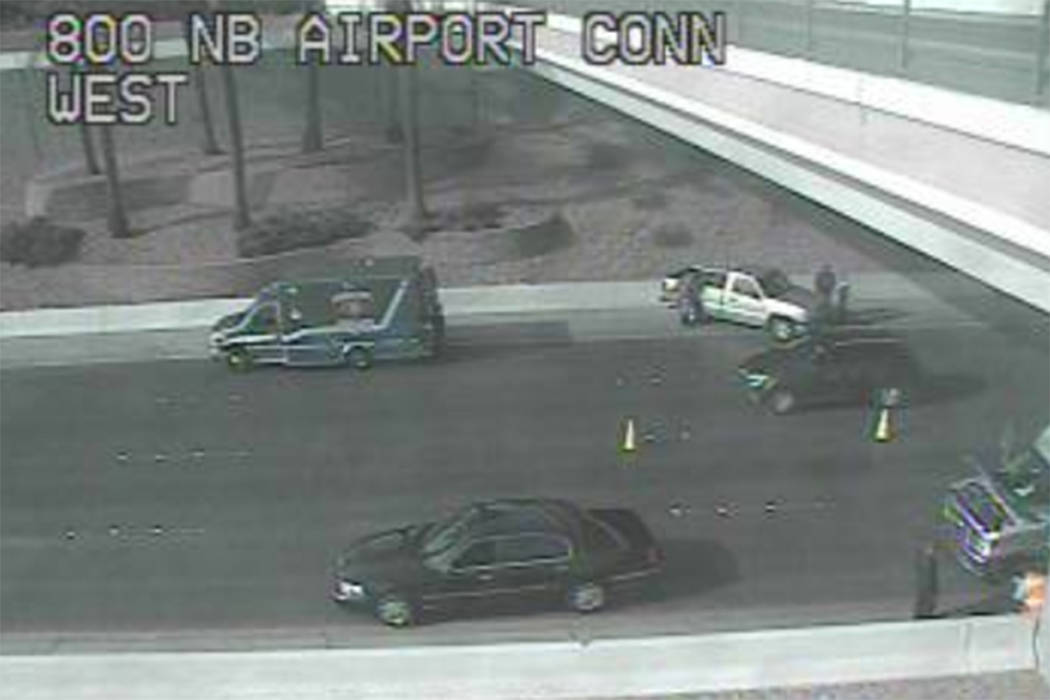 The Nevada Highway Patrol was investigating what appeared to be a multi-vehicle crash Friday morning on westbound 215 Beltway near the McCarran International Airport connector. (RTC Traffic Cam)