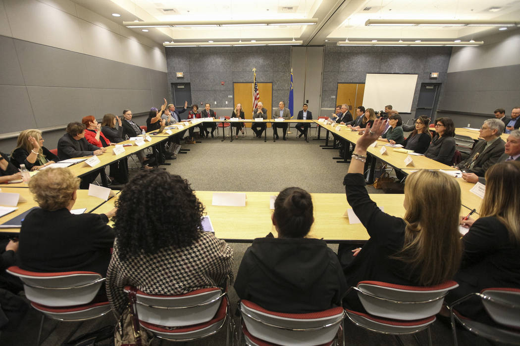 "Gov.-elect Steve Sisolak and members of his transition committee during a roundtable titled ""A Healthy Nevada for All."" at the National Atomic Testing Museum in Las Vegas on Friday, ..."