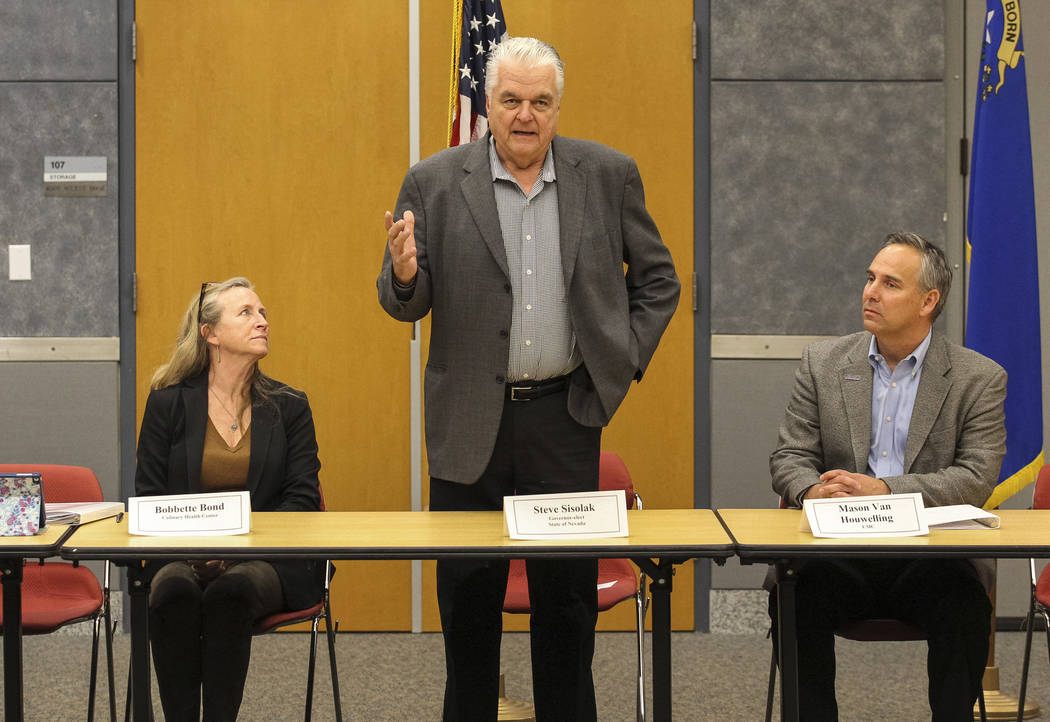 "Gov.-elect Steve Sisolak is flanked by Culinary Health Fund's Bobbette Bond, left, and UMC's Mason Van Houwelling during a roundtable titled ""A Healthy Nevada for All."" at the National A ..."