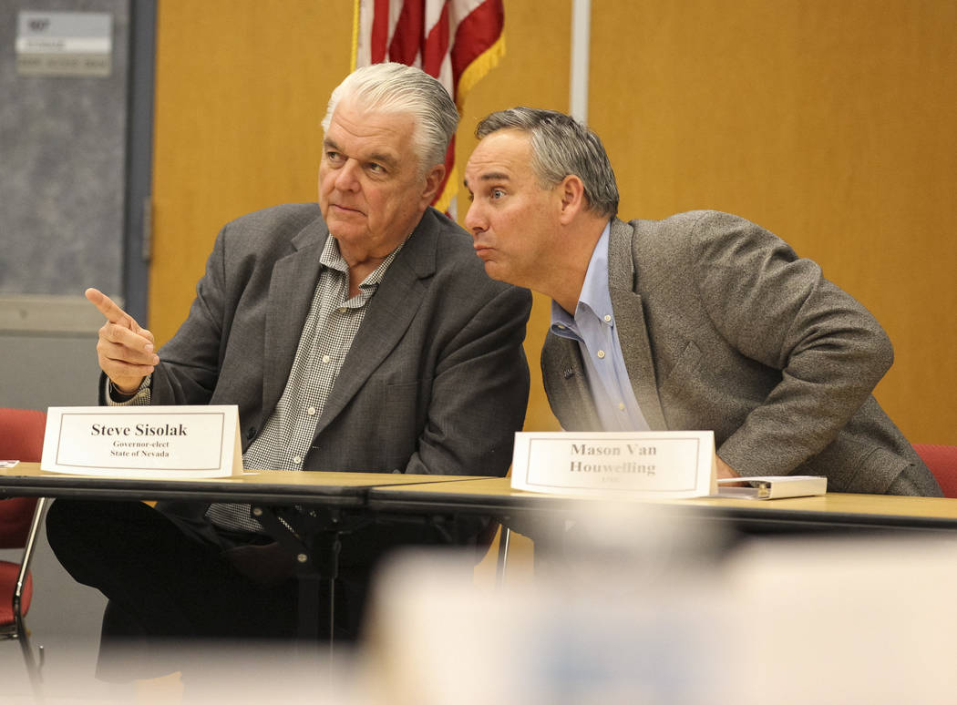 "Gov.-elect Steve Sisolak and UMC's Mason Van Houwelling take questions during a roundtable titled ""A Healthy Nevada for All."" at the National Atomic Testing Museum in Las Vegas on Friday ..."