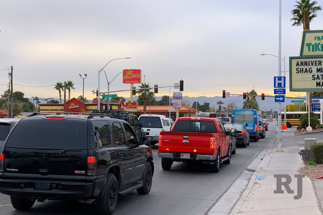 Traffic backs up at a red light at the intersection of Charleston Boulevard and Shadow Lane on Friday, Dec. 14, 2018. (Mick Akers/Las Vegas Review Journal.)