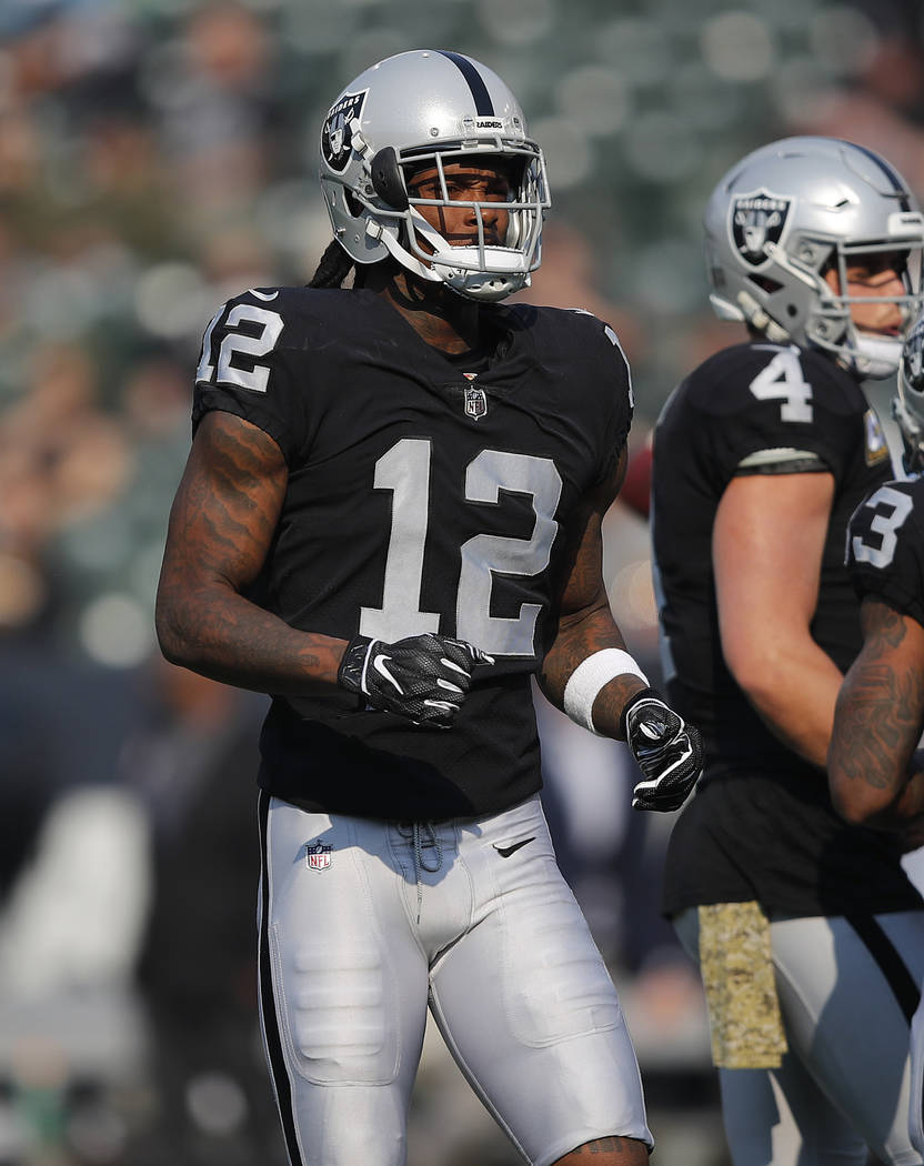 Oakland Raiders wide receiver Martavis Bryant (12) before an NFL football game against the Los Angeles Chargers in Oakland, Calif., Sunday, Nov. 11, 2018. (AP Photo/John Hefti)