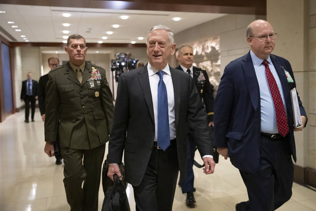 Secretary of Defense Jim Mattis arrives to give House members a classified security briefing, with Secretary of State Mike Pompeo, not shown, on the murder of Jamal Khashoggi and Saudi Arabia's wa ...