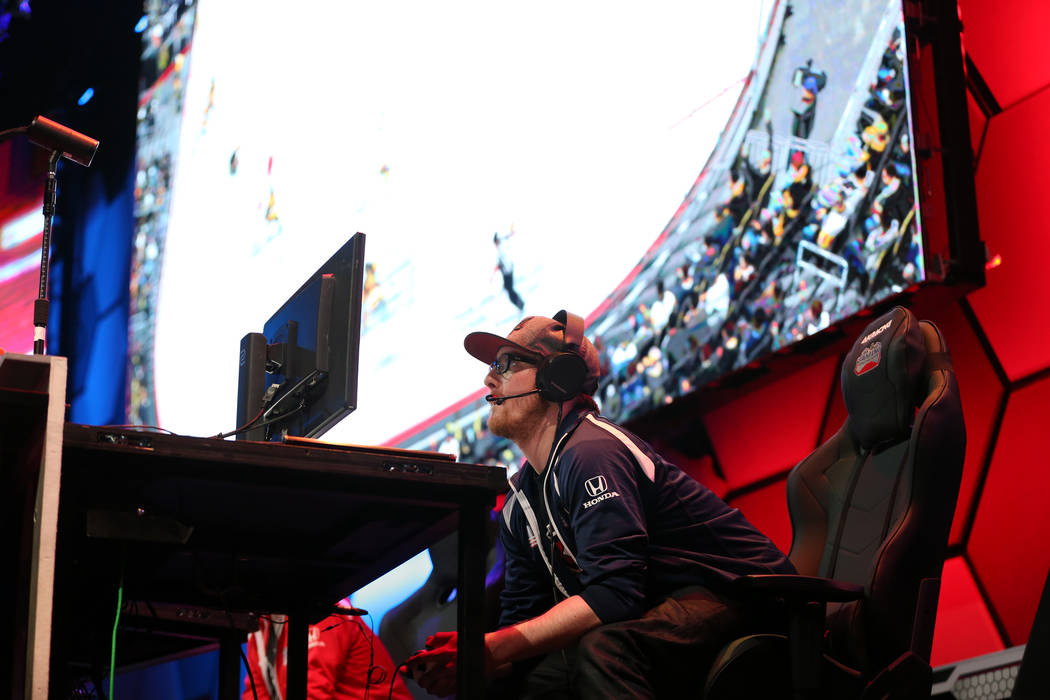 John Wayne Casagranda competes in the NHL Gaming World Championship at Esports Arena inside the Luxor casino-hotel in Las Vegas, Tuesday, June 19, 2018. Erik Verduzco Las Vegas Review-Journal @Eri ...