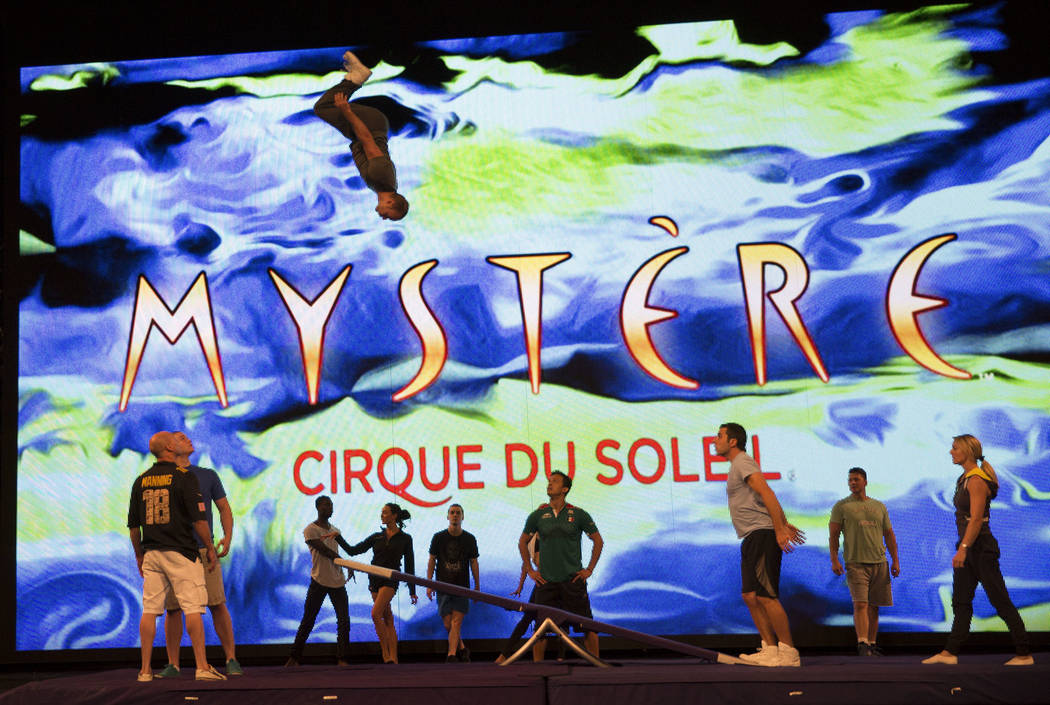 Artists from Cirque du Soleil rehearse for a special performance at Life is Beautiful set for Sunday, Sept. 24, 2017. (Cirque du Soleil)