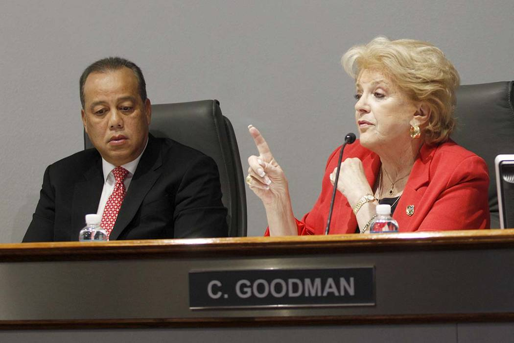 Wynn and Encore President Maurice Wooden sits next to Las Vegas Mayor Carolyn Goodman as she speaks at a board of directors meeting at the Las Vegas Convention Center in Las Vegas, Tuesday, May 8, ...