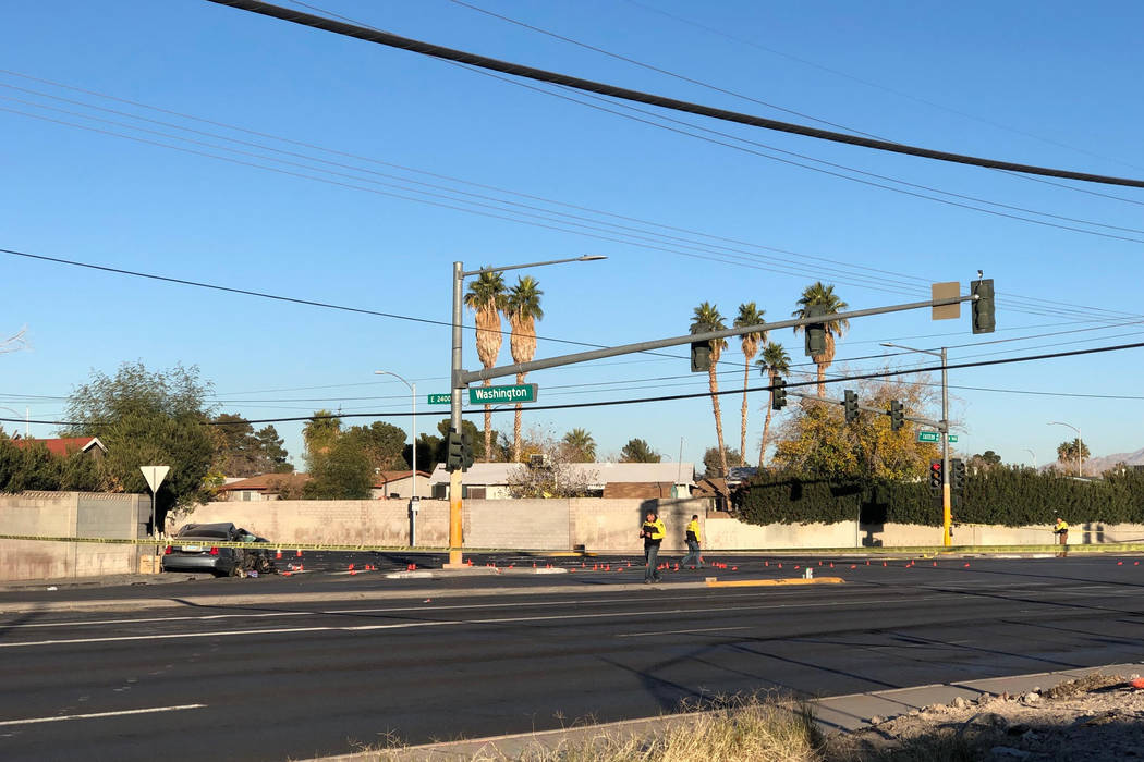 Las Vegas police are investigating a fatal crash Saturday morning in the eastern valley. (Rio Lacanlale/Las Vegas Review-Journal)