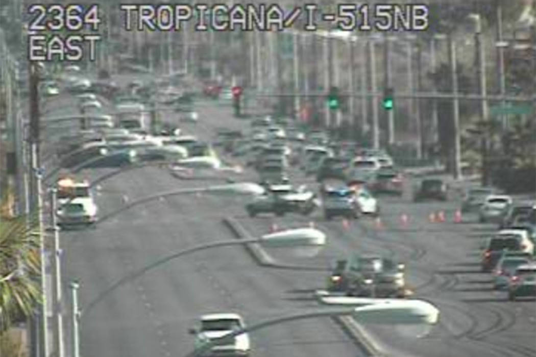 A crash near Sam Boyd Stadium in the southeast valley was causing a traffic backup ahead of the Las Vegas Bowl football game Saturday afternoon. (RTC Traffic Cam)