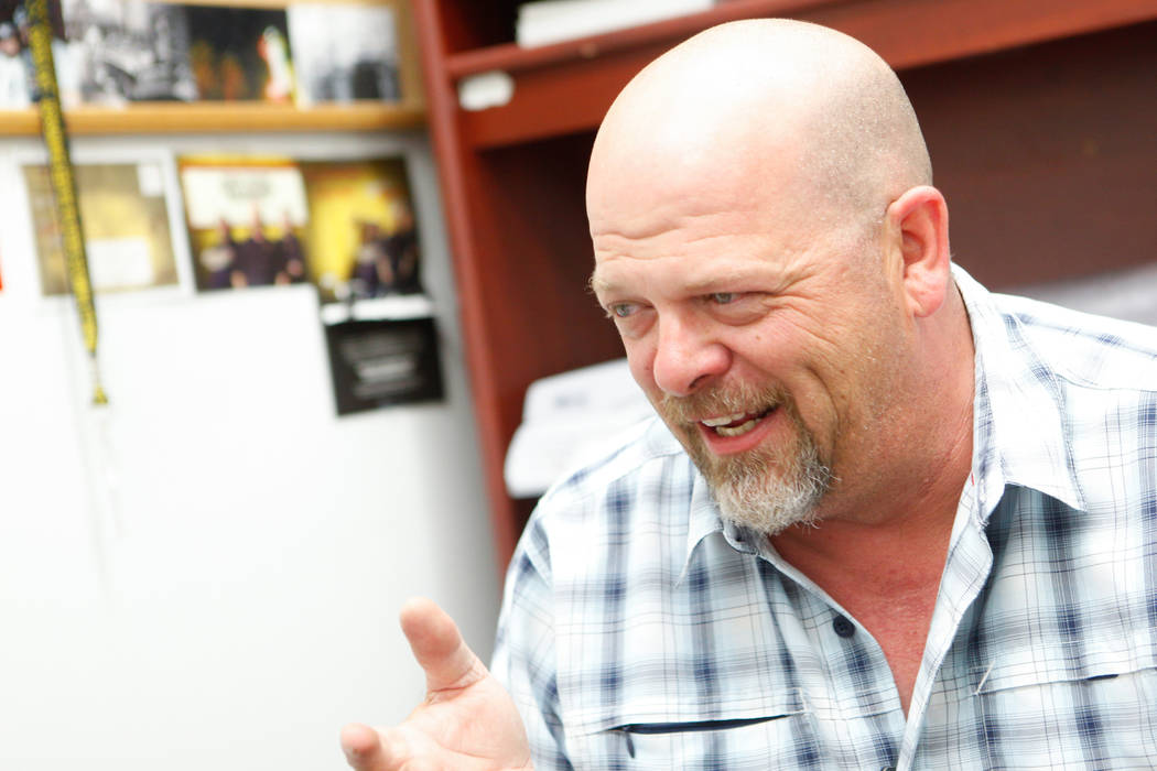 """Rick Harrison of the reality TV show """"Pawn Stars"""" speaks during an interview with the Review-Journal at Gold & Silver Pawn shop in downtown Las Vegas on Thursday, July 17, 2014. (Chase Stevens/Las ..."""
