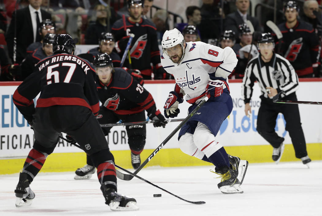 Washington Capitals' Alex Ovechkin (8) skates against the Carolina Hurricanes during the second period of an NHL hockey game in Raleigh, N.C., Friday, Dec. 14, 2018. (AP Photo/Gerry Broome)