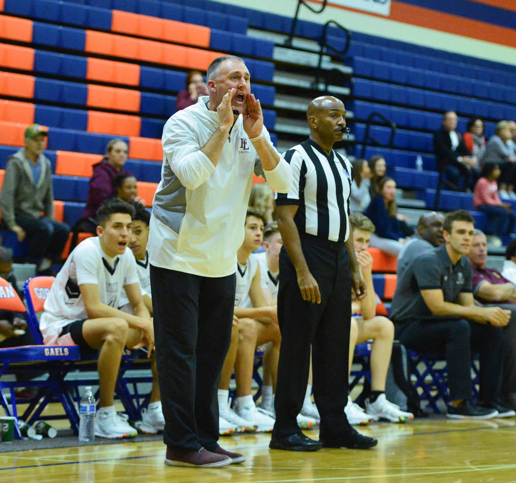 Faith Lutheran head coach Bret Walter shouts to his team during a game between Liberty High School and Faith Lutheran at Bishop Gorman High School in Las Vegas on Saturday, Dec. 15, 2018. Faith Lu ...