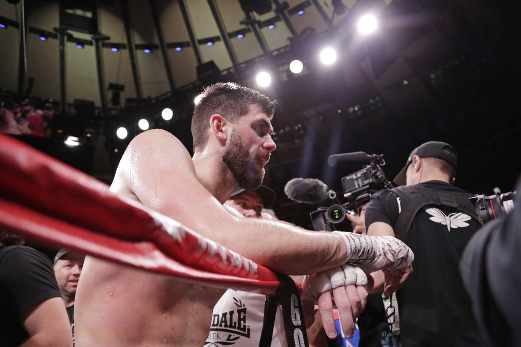 England's Rocky Fielding reacts after a WBA super middleweight championship boxing match against Mexico's Canelo Alvarez Sunday, Dec. 16, 2018, in New York. Alvarez stopped Fielding in the third r ...
