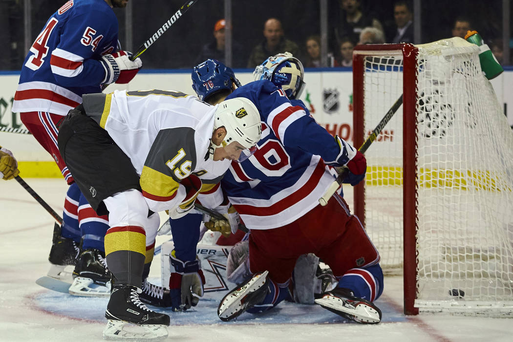 Vegas Golden Knights' Reilly Smith (19) scores a goal during the first period of an NHL hockey game against New York Rangers, Sunday, Dec. 16, 2018, in New York. (AP Photo/Andres Kudacki)