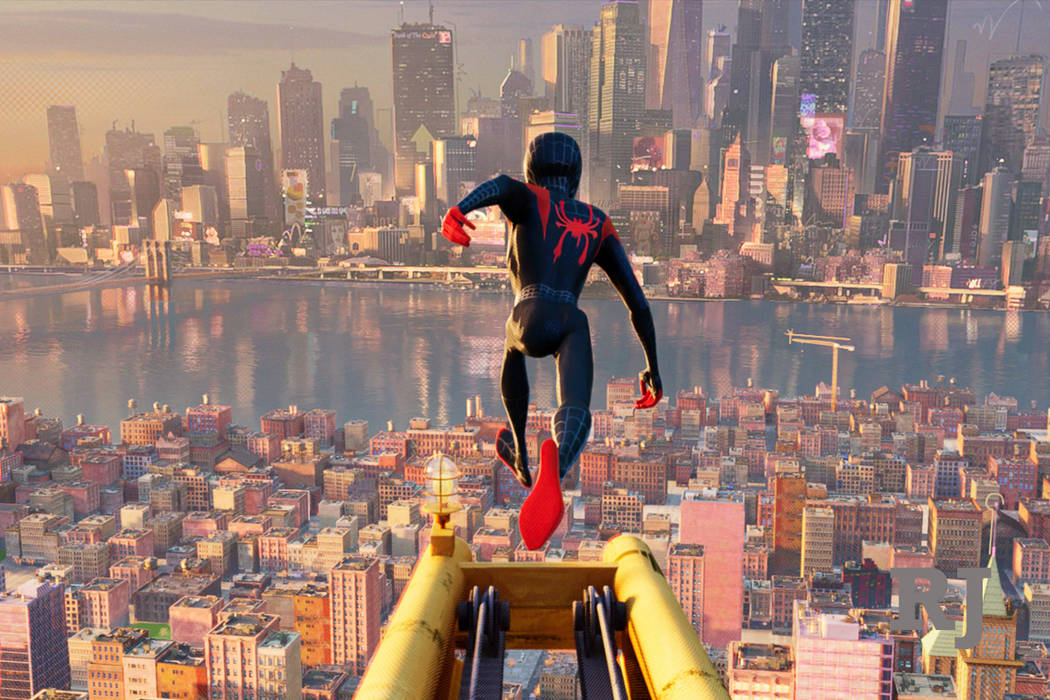 "This image released by Sony Pictures Animations shows a scene from ""Spider-Man: Into the Spider-Verse."" (Sony Pictures Animation via AP)"