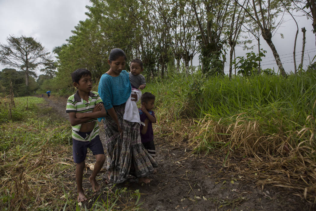 Claudia Maquin, 27, walks home with her three children, Abdel Johnatan Domingo Caal Maquin, 9, left, Angela Surely Mariela Caal Maquin, 6 months, middle, and Elvis Radamel Aquiles Caal Maquin, 5, ...