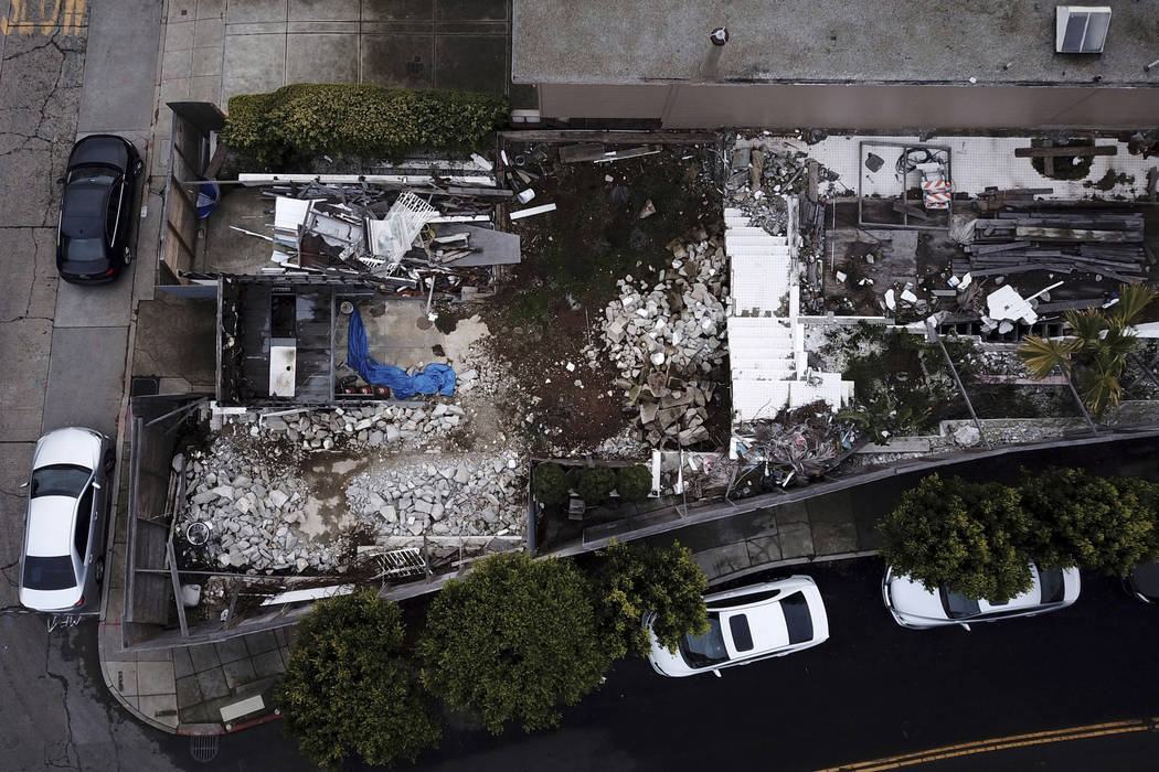 This Friday, Dec. 14, 2018, photo shows an aerial view of a demolished house in San Francisco. A man who illegally demolished the San Francisco house designed by the modernist architect Richard Ne ...