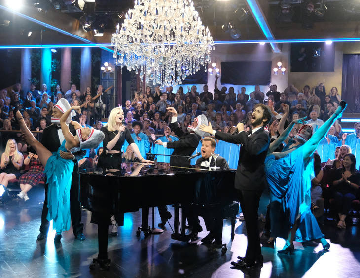 """This Sept. 26, 2018 image released by CBS shows Sophie Turner, left, and Josh Groban, right, performing """"Baby Shark"""" with host James Corden on """"The Late Late Show with James Corden,"""" in Los Angele ..."""