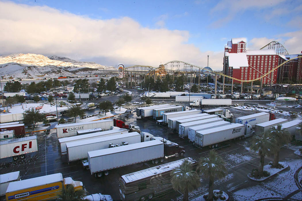 Hundreds of semi truckers took refuge in casino parking lots after Interstate 15 into California was closed at Primm on Dec. 18, 2008. The freeway became a parking lot as casino parking was filled ...