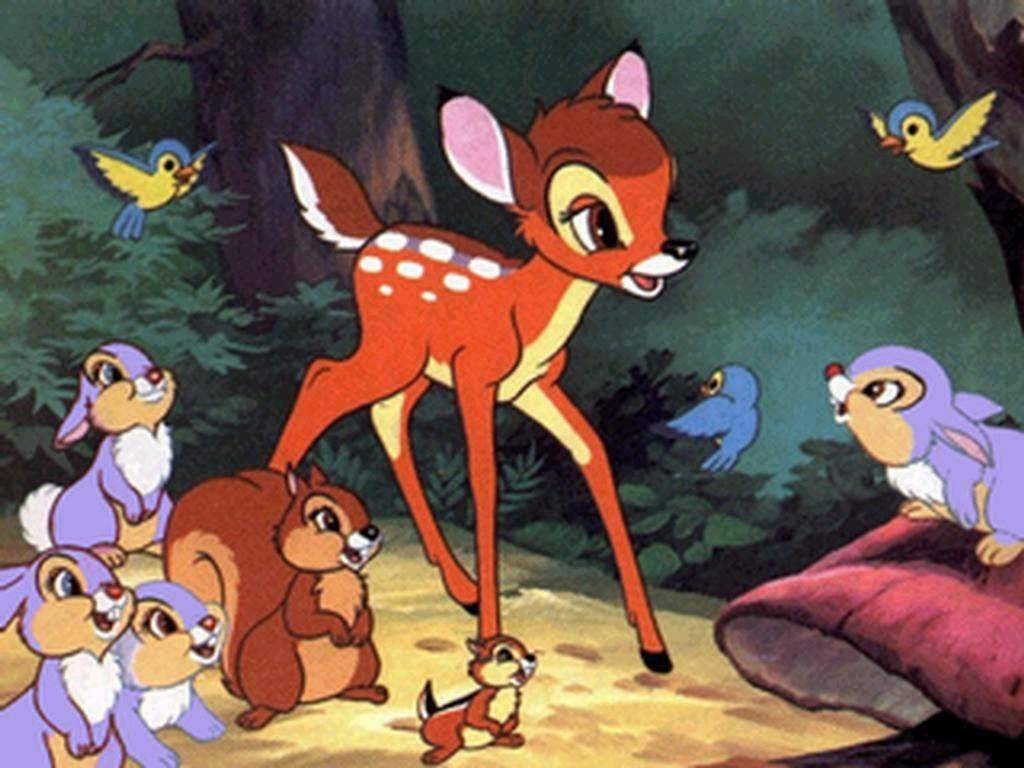 "Fawn Bambi romps with his woodland pals in Walt Disney's animated classic ""Bambi"" (1942), now in a new anniversary Blu-ray release. (Walt Disney)"