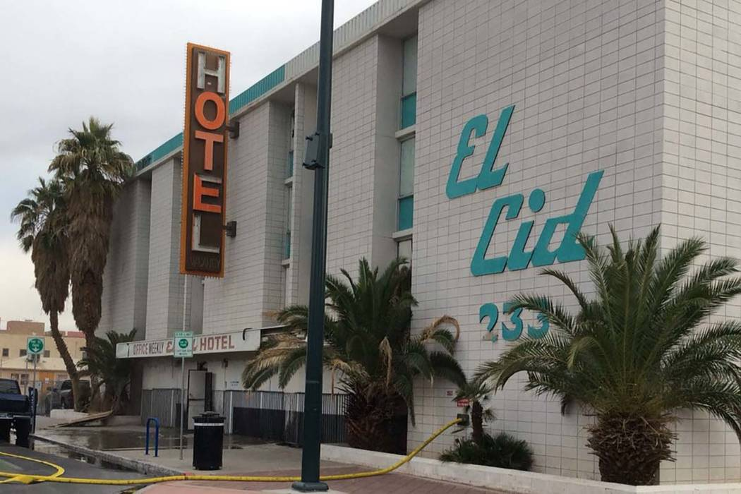 The Las Vegas Fire Department responded to a fire on the second floor of the vacant El Cid motel at 233 S. Sixth St. in downtown, Monday, Dec. 17, 2018. (Las Vegas Fire Department)