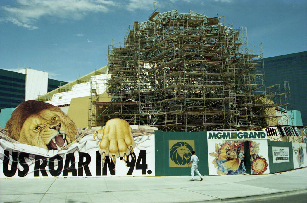 "MGM Grand under construction in July 1993. The banner in front says ""Watch Us Roar in 94."" (Las Vegas Review-Journal file)"