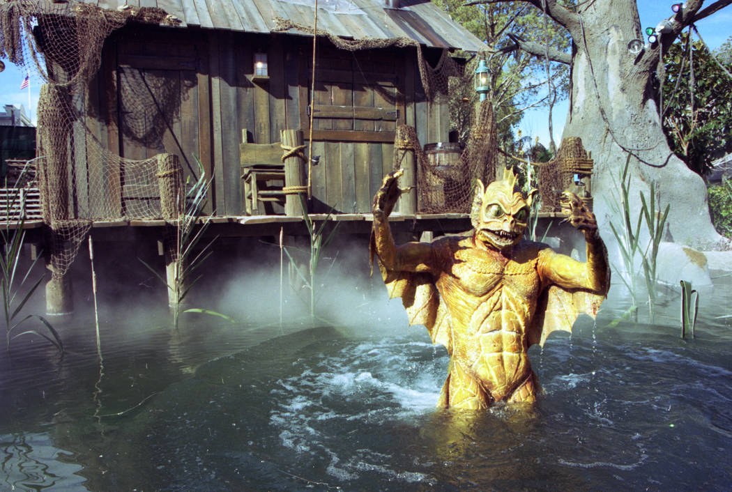 A swamp creature rises out of the water during the Backlot River Tour at MGM Grand Adventures Theme Park. The park opened to the public on Dec. 18, 1993. (Las Vegas Review-Journal file)
