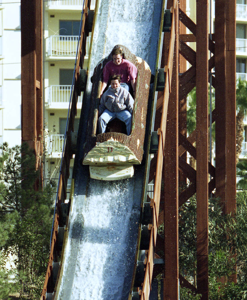 The Edge log ride at MGM Grand Adventures Theme Park. The park opened to the public on Dec. 18, 1993. (Las Vegas Review-Journal file)